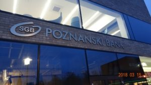 Reklama świetlna – Litery i logo 3D podświetlane LED: SGB Poznański Bank