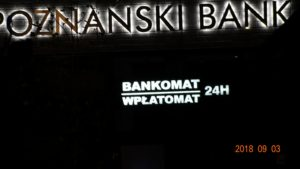 Kasetony reklamowe podświetlane LED: Poznański Bank SGB